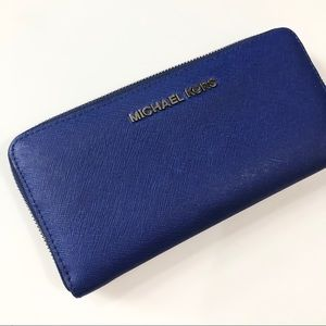 Michael Kors wallet jet set saffiano leather blue